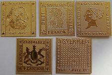 5 GROßE GOLD BRIEFMARKEN - Z.B.: Blaue Mauritius / Karl Marx / Sachsendreier