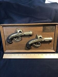 Vintage Antique Burwood Product Wall Plaque Pair Of Deringers Guns USA