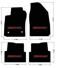 NEW! BLACK FLOOR MATS 2012-2015 Chevy Sonic Embroidered Logo in Red on All 4