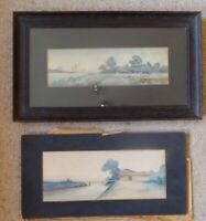2 Old original watercolour  paintings Landscape Far East Rice farm, River.