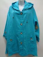 For Cynthia 3X Jacket Coat Teal Blue Hooded SharkBite Hem 100% Linen NEW $108