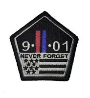"""Thin Red and blue Line twin towers 9/11 Never Forget hook Morale Patch 3"""" x 3.5"""""""