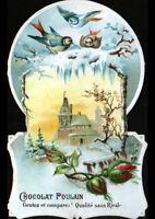 IMAGE CHROMO CHOCOLAT POULAIN / FLEUR & OISEAU & VILLE en hiver