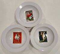 "Pottery Barn Vintage Posters Discontinued 9.5"" Pasta Bowls Set Of 3 Bowls"