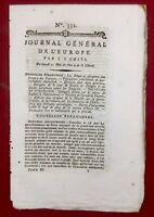 Journal général de l'Europe 1792 Isère Embrun Chambéry Savoie Metz Valenciennes