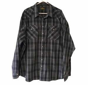 Bisley Grey Check Shirt Size 4XL Button Up Collar Long Sleeve Pearl Snap Front