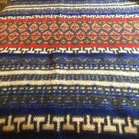 "Vintage Cobertor Blanket Merino Co Red Blue Yellow 76"" X 72"" Vivid Colors"