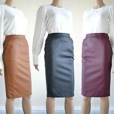 NEW Womens Faux Leather Stretch Pencil Skirt Black Burgundy Tan Size 6 - 20