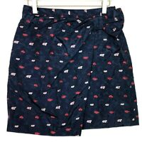 Banana republic wrap jaquard tulip skirt blue embroidered size 2 new nwt