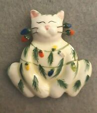 "Vintage ""Whimsiclay"" Cat Brooch"