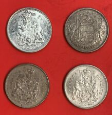 Lot 4 Canadian .800 Silver Half Dollar (50Cents) 1958-1959-1962-1964 Coins