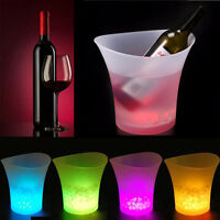 5L Colorful Plastic LED Light Ice Bucket Color Changing Bar Champagne Beer Party