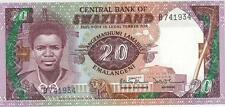 A SAISIR    1  X  BILLET  20   EMALANGENI     SWAZILAND    1986    NEUF    !!!!