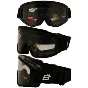 Motorcycle Goggles Fit Over Glasses Anti-Fog Shatterproof Clear Lenses UV400