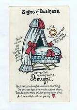 D2638cgt Cute Humour Signs of Business Baby Basinet c1906 vintage postcard