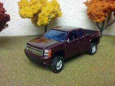 1/64 CUSTOM CHEVY SILVERADO LIFTED 4X4 TRUCK Farm toy, DARK RED, EXTENDED CAB