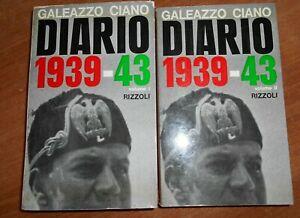 Galeazzo Ciano DIARIO 1939-43 2 VOLUMI Edizione Rizzoli 1963
