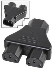 IEC C14 Male to Dual 2 x IEC C13 Female Y Splitter ADAPTER PC Kettle Power Lead