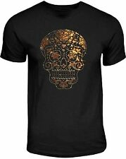 Rhinestone Studs Sugar Skull T Shirt Mens Gold on Gold Candy Skull Tee 2XL
