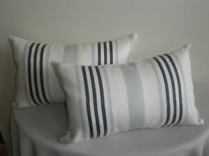 Blue & White Linen Stripe Nautical Sea Hamptons Cushion Cover 33x53 cm Au made