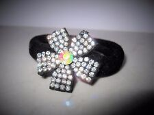 Black flower sparkle crystal rhinestone hair tie scrunchie ponytail holder