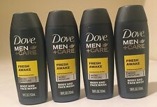 4  Dove Men+Care Fresh Awake Body & Face Wash 1.8 oz. Travel Size  FREE SHIPPING