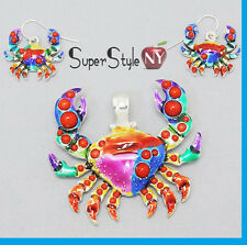 + Long Chain Colorful Crab Claw Enamel Ocean Sea Life Pendant Necklace Earrings
