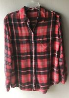 CELINE Women's Red Plaid Print Blouse 100% Silk Button Down Top Italy (Flaw)