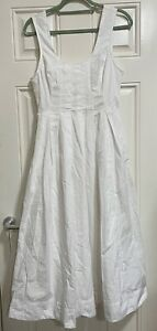 Free People Tie Back Midi Cotton Dress White Lined S UK 8 New BNWT $108