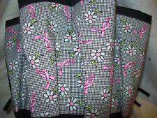 PINK RIBBON ''DAISIES ON PLAID ''  PRINT CLOTH BINGO BAG *HANDMADE