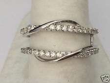 Wave Style White Gold Solitaire Enhancer 0.40ct Diamonds Ring Guard Wrap Jacket