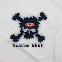 Oakley Genuine Software Scatter Skull Tan T-shirt Size Large Graphic Tee EUC 90s