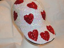 GLITTERING WHITE SEQUIN BASEBALL CAP HAT RED HEART HEARTS VALENTINE GIFT NEW !
