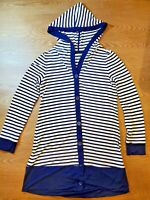 SOMA Live Lounge Wear Size XS Women's Hooded Buttons Sweater Stripes Blue/White