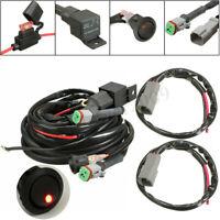 12V 40A Relay Twin Wiring Harness Work Fog Light Bar Kit Switch Led Spotlight