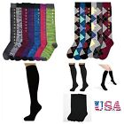 Women's Cute Design Knee High Socks 9-11 Fashion Pattern Print Argyle Black