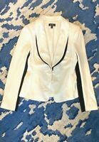 Bebe Womens 4 Black White Tailored Blazer Work Jacket Stretchy Career Colorblock