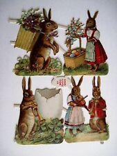 Vintage 1800's Die Cut 5 Easter Bunnies w/ Basket of Colored Eggs & Instruments*