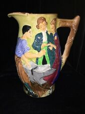 "Antique English Burleigh Wilson Pottery Large Jug: The Runaway Couple 8.5"" Tall"