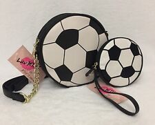 BETSEY JOHNSON Soccer Ball BAG COIN PURSE 2 pc SET Cross Body GOALS Kitsch Kitch