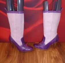 *6* DIESEL LILAC SUEDE  LEATHER MID CALF HEEL BROGUE STYLE BOOTS  UK 6 EU 39