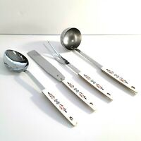 Kitchen Utensils Set of 4 Japan: Ladle, Meat Fork, Spatula and Spoon, Vintage