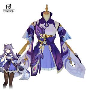 Genshin Impact Keqing Cosplay Costume Dress Uniforms Women Halloween Full Sets