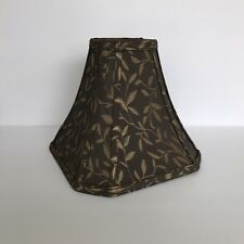 "Cut Corner Square Bell Shade Brown Gold Lampshade 10"" W x 8 3/4"" T Spider Fitter"