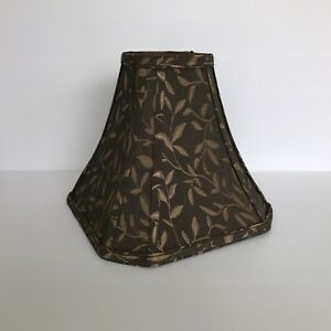"""Cut Corner Square Bell Shade Brown Gold Lampshade 10"""" W x 8 3/4"""" T Spider Fitter"""