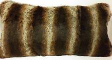 Real  Dyed Brown Chinchilla Sheared Rabbit Fur Pillow  made in usa fur cushion