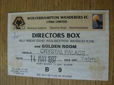 14/05/1997 Ticket: Play-Off Semi-Final Division 1 - Wolverhampton Wanderers v Cr
