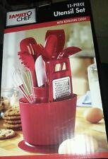 11 pcs Red Family Chef Kitchen Utensils w/ Revolving Holder Caddy Set