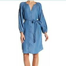 Hope & Harlow Sz 10 Embroidered Tencel Chambray Dress