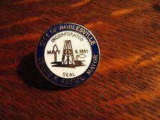 Noblesville IN Lapel Pin - Vintage Indiana USA City Seal Mayor Dennis Redick Pin